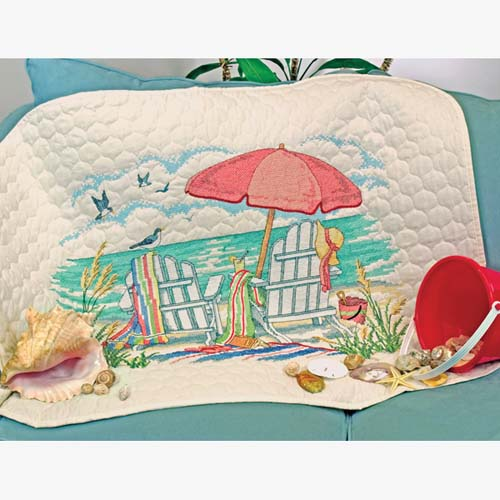 At The Beach Quilt Stamped Cross Stitch Kit