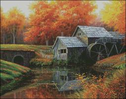 Shinysun's - Old Mill in October Cross Stitch Chart