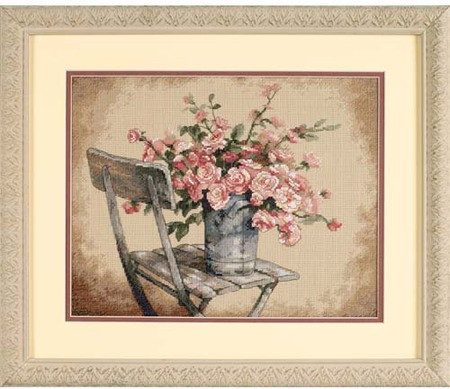 Roses on White Chair
