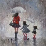 Mystic Stitch - A Rainy Day Walk with Mom Chart Only