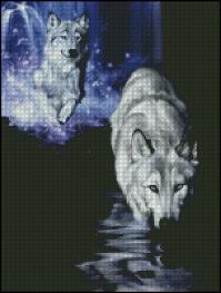Shinysun's - White Wolf Waterfall Cross Stitch Chart