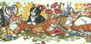 Cat Row Counted Cross Stitch Kit