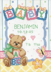 Baby Blocks Birth Record Counted Cross Stitch Kit